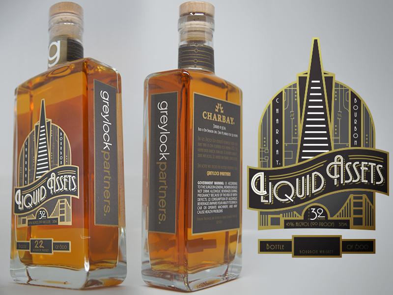 Liquid Assets Label venture tech label scotch whiskey bourbon merchandise package bottle vector design