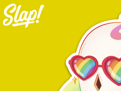 Slap with Pride! glasses rainbow slap skull yellow subscription subscription box lgbtq pride pride month vector art colorful character slaptastick artwork stickers illustration fun design