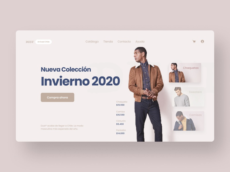 Dust Menswear Store 1 clothes man menswear fashion landing page homepage minimal simple ui ux hero designer cover clean app agile