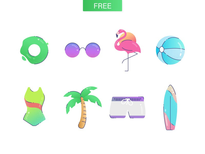 Vacay icons * FREEBIE* vector swim surf relax beach flamingo sunglasses palm holiday vacation summer freebie icon