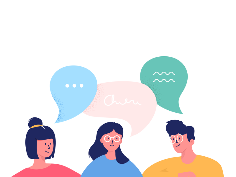 Illustration talk bubble speech talking faces networking people kickative design flat character vector illustration