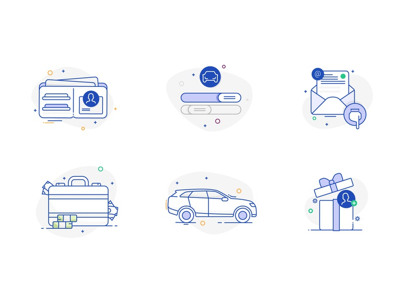 Icons concept email letter passport identity money gift insurance car outlines lines icons