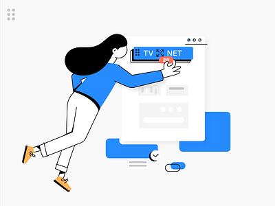 TVNET character newsfeed lines flat newsletter women bright shaddows dark blue uxui ux figma web illustration logo portal news latvija tvnet