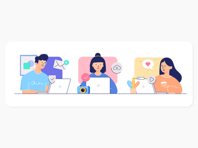 Creative, impactful, meaningful work emails camera laptop working people women man teamwork team illustration flat inbox freelance work meaningful impactful creative