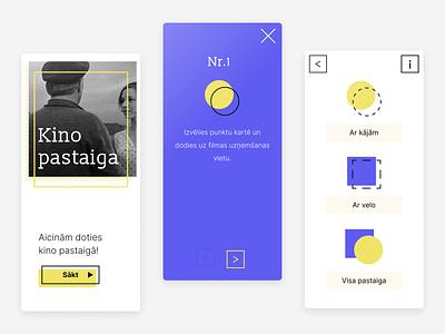 Kino pastaiga (App design) map directions new minimal button art kino nativeapp android appdesign illustration ux iu walk cinema