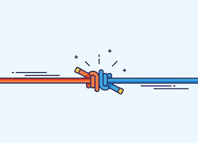 Dubults neplīst playfull fun animation cartoon lines outlines blue orange knot knots twist ropes