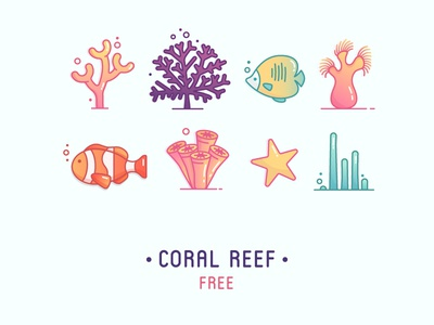 Free icons illustration movie starfish kickative outline fish reef coral freebie free download icons