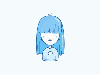 Girl avatar long hair sweater freckles icon women lines outlines strokes blue girl avatar