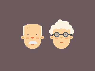 Faces / Grandparents illustration kickative design character hair glasses head flat grandfather grandmother faces old