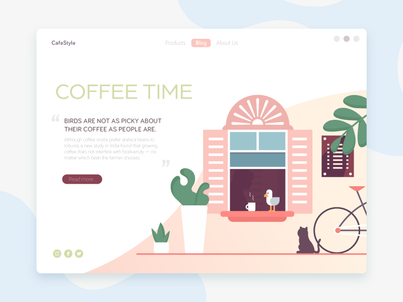 CafeStyle startup vector design flat cup coffee concept illustration business cafe web