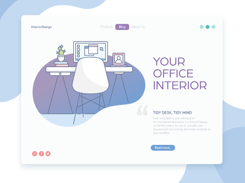 InteriorDesign message desktop chair freelance office interior webiste kickative vector illustration design web