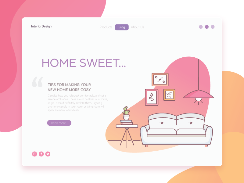 Home outlines kickative gradient wedesign website web vector illustration design interior sweet home