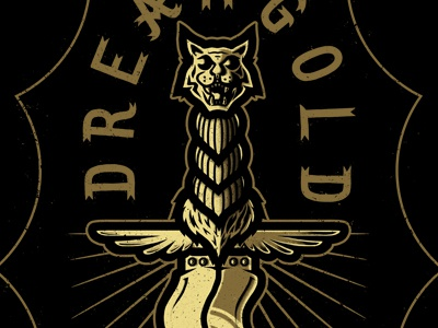 Dream Gold • Artekis dagger tattoo sweater design ferocious cat feline tiger lynx wings