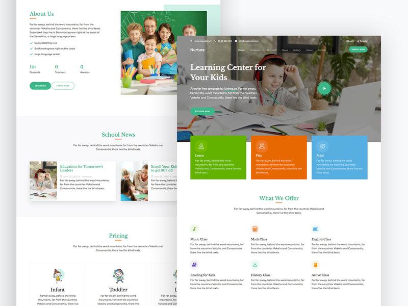 Nurture Free HTML Template by Untree.co design ux ui teacher children kids kindergarten school webdesign website onepage free template bootstrap html