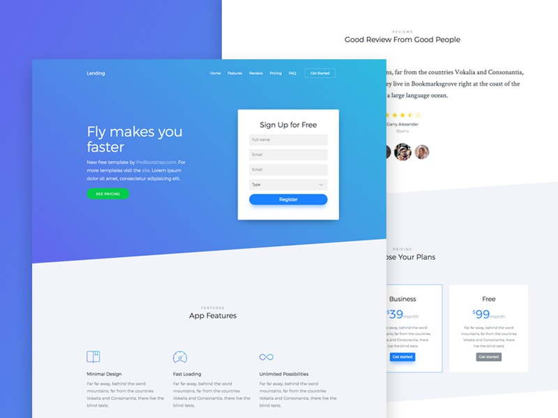 Probootstrap Landing (Free HTML) free html free template landing page photography bootstrap 4 bootstrap freebie design ux ui
