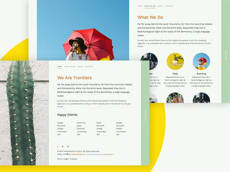 ProBootstrap Frontiers (Free HTML) free html free template bootstrap 4 bootstrap freebie design ux ui