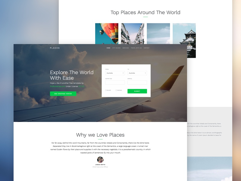 Probootstrap Places (Free HTML) free html free template bootstrap 4 bootstrap freebie design ux ui