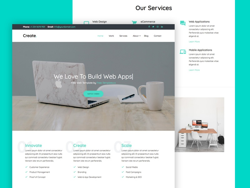 """""""Create"""" Onepage Free Website Template by Free-Template.co ux design bootstrap 4 free html free template bootstrap ui"""