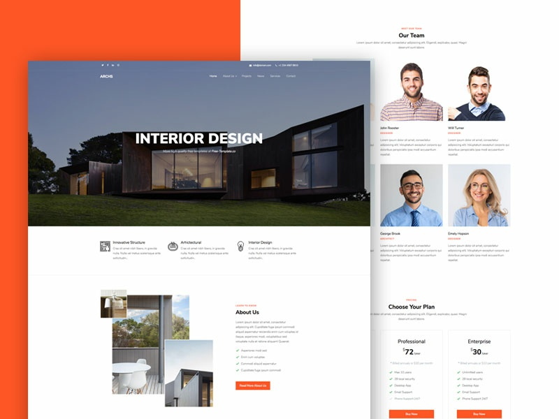 Archs Onepage Free Website Template by Free-Template.co bootstrap 4 html free template bootstrap design ux ui