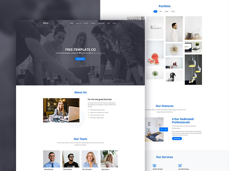 Nitro One Page Free Website Template by Free-Template.co ui web design ux bootstrap 4 html free bootstrap free template