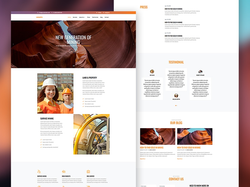 Unearth Free Bootstrap 4 Website Template by Free-Template.co ui ux bootstrap4 free bootstrap free html onepage