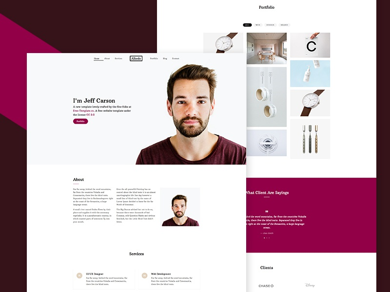 Albedo Free Website Template for Portfolio by Free-Template.co free bootstrap free html html free template bootstrap 4 design ux ui