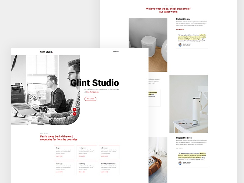 Glint OnePage Website Template by Free-Template.co free template free html freebie html bootstrap 4 design ux ui
