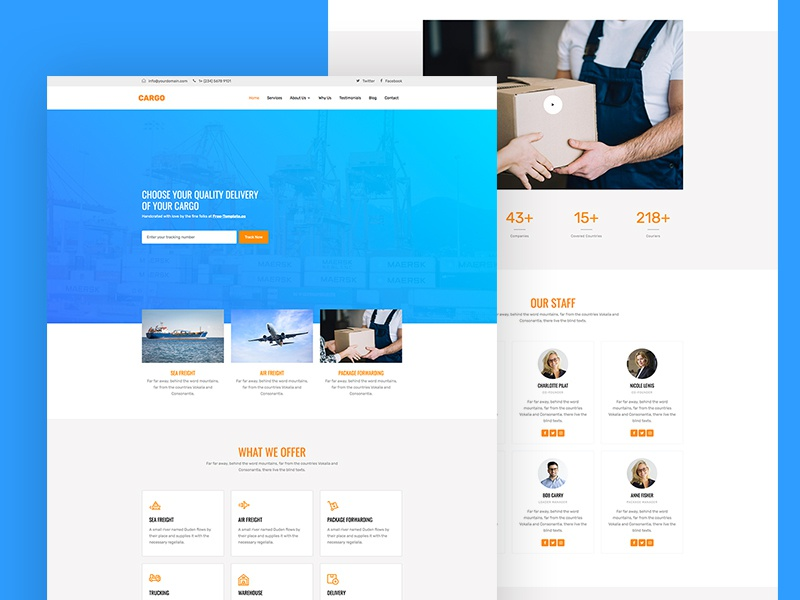 Cargo Free Website Template for Logistics transport logistics bootstrap 4 free template design html ux ui