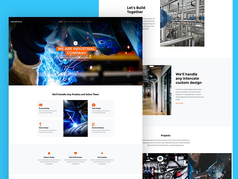 Industrial Free Website Template for Industrial Websites construction industrial freebie html free template bootstrap 4 design ux ui