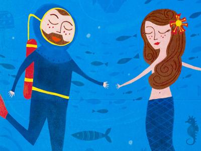 Save The Date illustration sea mermaid invitation deep sea diver fish