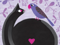 Cat Bird 8x8 Print