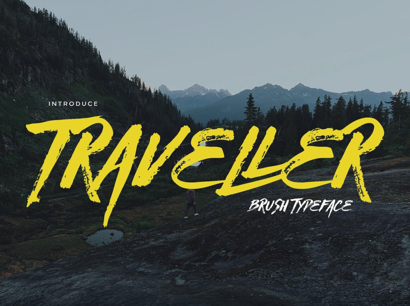 Traveller Brush Typeface dribbble brush font vintage font typeface illustration vector ux ui logo typography graphic design app design branding