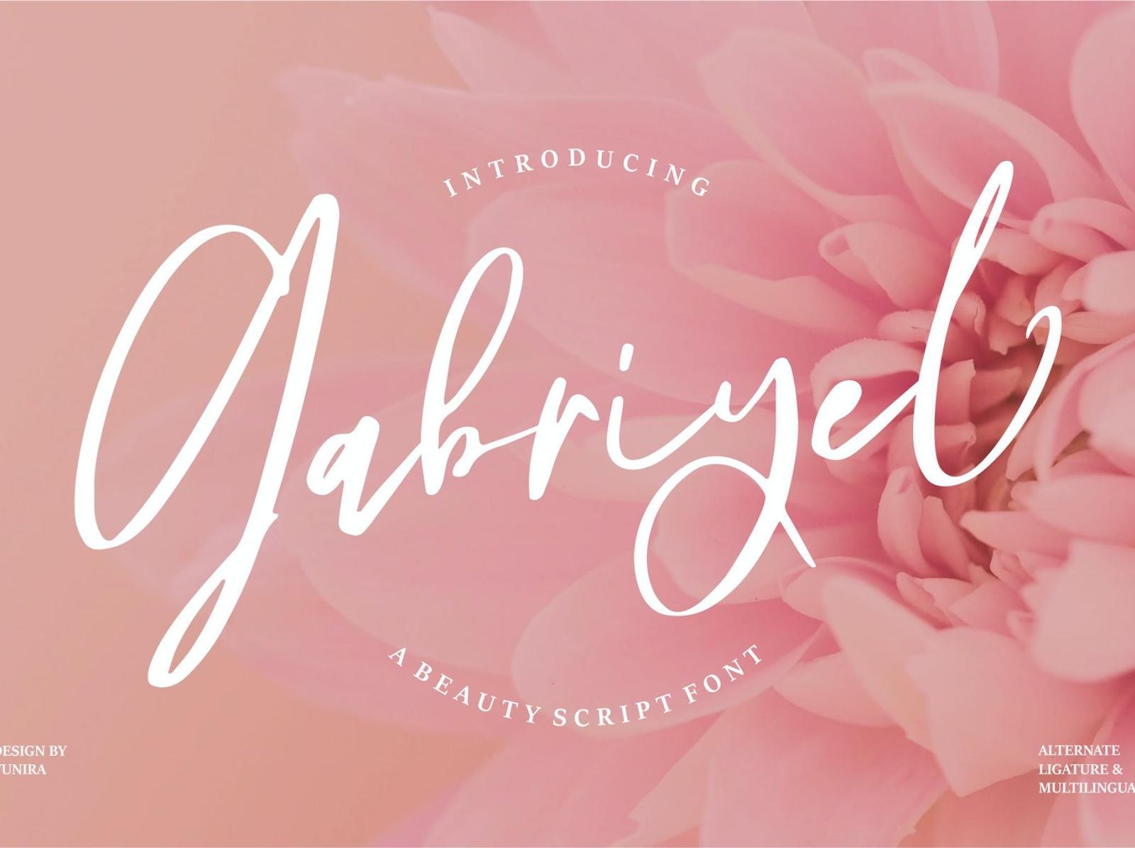 Gabriyel | Beauty Script Font 3d minimal modern display font calligraphy typeface script font font beauty ux ui vector app typography logo graphic design illustration design branding