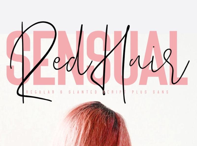 Red Hair Sensual Typeface sans serif display font elegant sensual typeface font display ux vector ui logo app typography illustration graphic design design branding