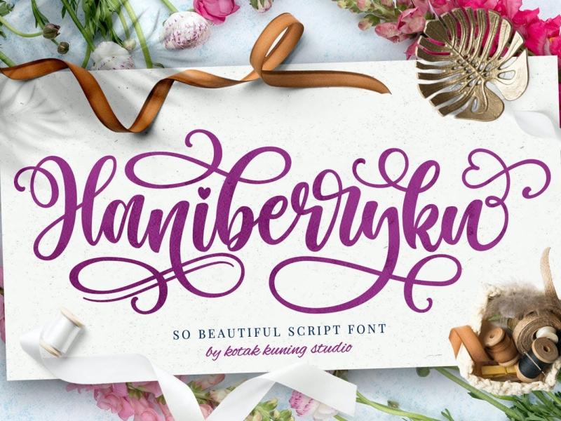 Haniberryku - Beautiful Script Font display font script font font script elegant beautiful ux vector ui logo app typography illustration graphic design design branding