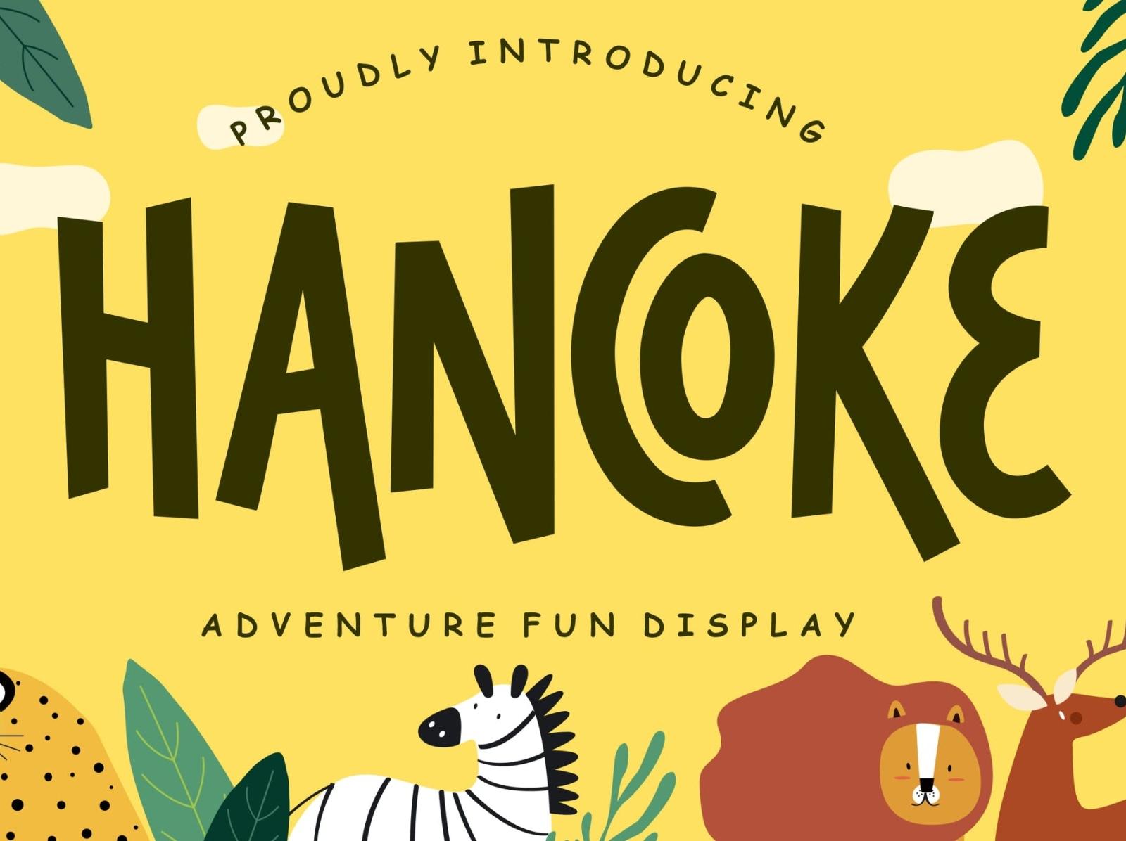 Hancoke Adventure Fun Display Font display font font display fun adventure ux vector ui logo app typography illustration graphic design design branding