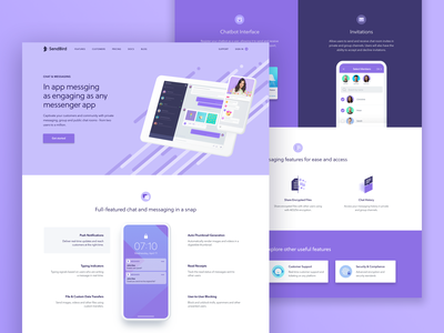 Feature page - Chat & Messaging notification tech company saas landing page mock up hero area icon webdeisgn sendbird messaging chat bot features page landing page