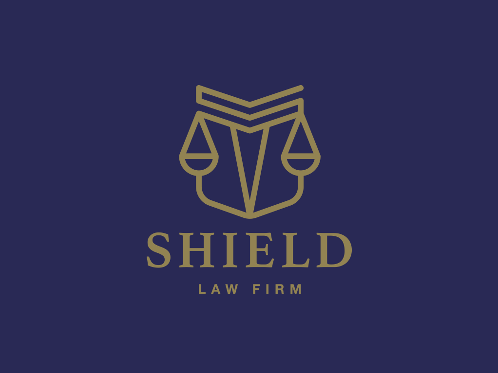 Law Firm logo incorporating a shield and a scale of justice