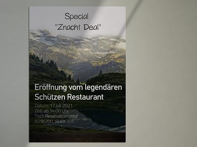 Eröffnung vom legendären Schützen Restaurant poster mountains switzerland flyer design design graphic design flyer