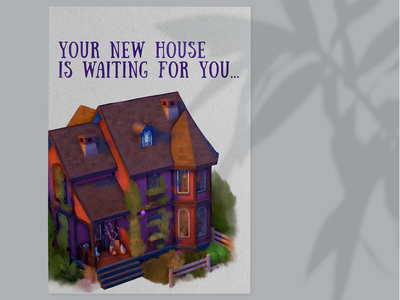 New house poster watercolor home house illustration poster design graphic design