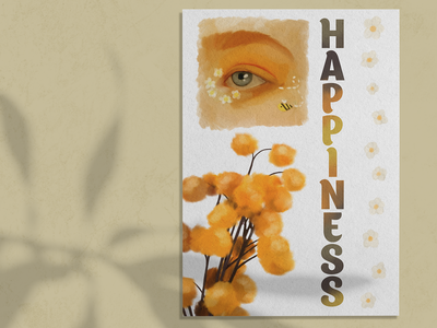 Poster about happiness chamomile happiness happy yellow illustration poster flyer design flyer design graphic design