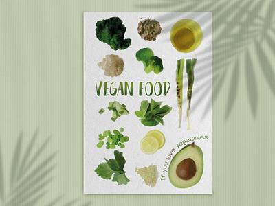 Poster with set of vegan food green food vegetables vegan watercolor illustration poster flyer design flyer design graphic design