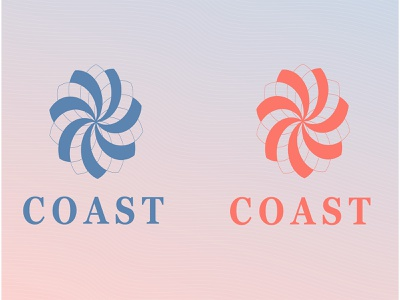 COAST logo design white pink blue brand company water bottle logo illustration graphic design designer design branding brand identity