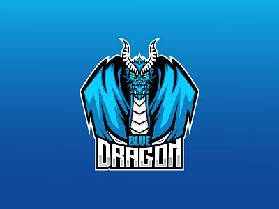 Blue Dragon Logo entertainment ui 3d graphic design motion graphics animation logo illustration design branding esport logo gamers gaming vector logo design mascot dragon