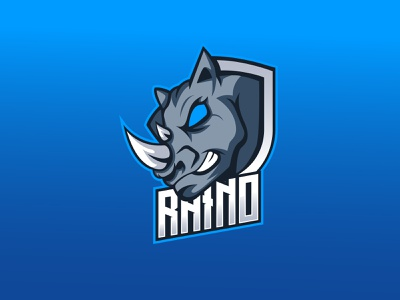 Rhino Mascot Logo ux vector logo ui mascot illustration design branding gamers gaming animal mascot design rhino
