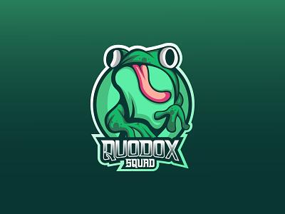 Quodox Logo youtube channel esports graphic design vector logo gaming gamers design branding illustration mascot logo design frog