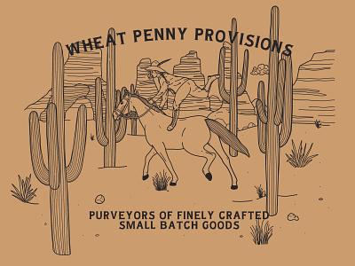 Ride Fast, Die Last onward wheat penny provisions adventure national park saguaro design scenery desert explorer cowgirl rider horse illustration branding logo