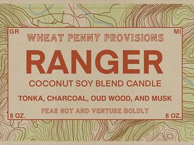 Ranger Label candle ranger yosemite topographical map packaging label logo illustration design branding adventure
