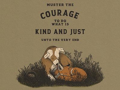 Kind and Just hound fox brave compassion kindness illustration design branding adventure