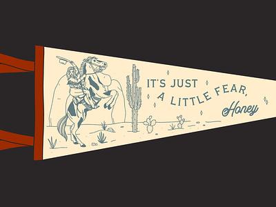 Pennant Flag, 001 cowgirl desert explorer illustration design branding adventure